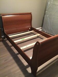Sleigh style Twin Sized Headboard, Footboard and support beams