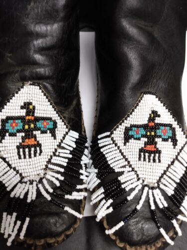 Native American Style Leather Beaded Moccasins