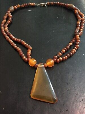 Collier IN Beads Horn Cowhide And Amber Pattern Geometric Polished