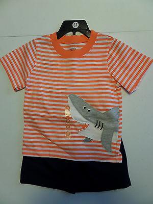 2 Orange Boy Shorts (NWT Boy's Carter's 2pc Orange/White Stripe shirt w/shark, Blue Shorts Size- 3T )