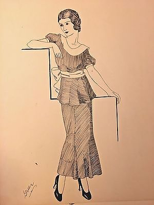 Pen & Ink Study 1920's Fashion Woman Modeling Dress with Bow Art Deco Signed