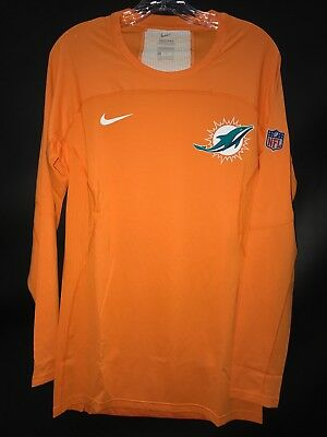 (MIAMI DOLPHINS TEAM ISSUED ORANGE COLOR RUSH HYPER COOL COMPRESSION SHIRT W/TAGS)