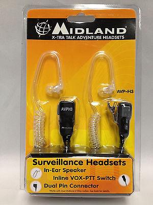 Midland AVPH3 AVP-H3 Security Surveillance Headsets for Midland Radio (Pair)