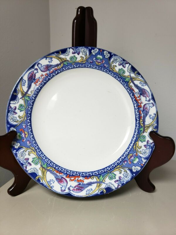 RARE~Vintage Adderley China Delhi Flow Blue Pattern DINNER PLATE PHEASANT BIRDS