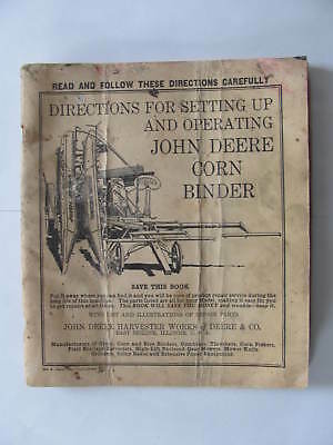 John Deere Corn Binder Directions For Setting Up And Operating Manual Lot Jd4