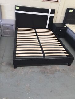 BRAND NEW LEATHER BED WITH SUPER STRONG SLATS DOUBLE$150 QUEEN$170