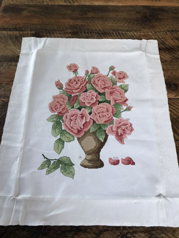 Handmade Finished Completed Cross Stitch Blush Color Roses In Vase Petite Stitch