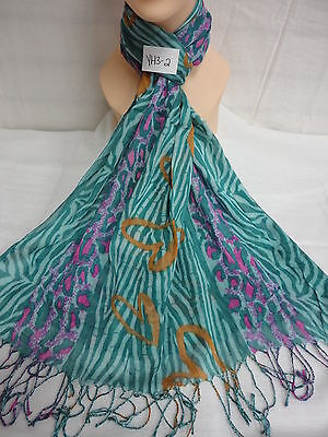 ZEBRA LEOPARD PRINT WITH HEART PATTERN LIGHT WEIGHT WRAP OR SCARF COLOR TEAL