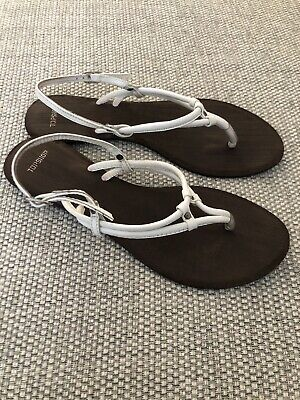 Topshop White Leather Sandals Size 6. Flat Summer Footwear Ladies