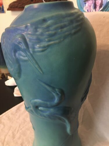 "Van Briggle Pottery Crane Heron Egret 17"" floor vase umbrella stand light blue"