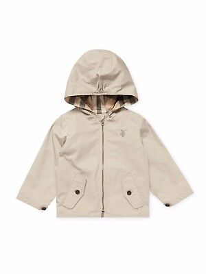 NWT NEW Burberry Infant Baby Boy Bryce taupe sand hooded zip Jacket 12M