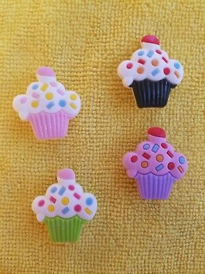 DELICIOUS CUPCAKES shoe charms/cake toppers!! Set of 4!! FAST USA - Shoe Cupcakes