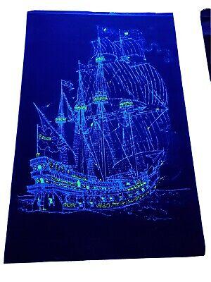 Vintage Black Light Poster  Peace ship 1970's Nautical