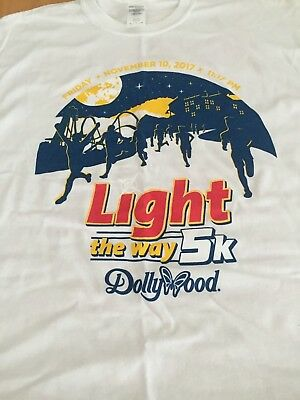 2017 DOLLYWOOD LIGHT THE WAY 5K T SHIRT WHITE SIZE XL VOL PIGEON FORGE TENN NWOT