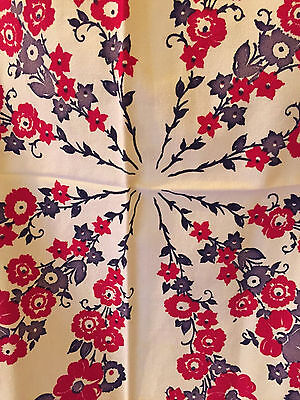 """Vintage 1950s Tablecloth~44"""" x 46""""~Red and Gray Flowers~Black~Cotton Crepe~"""