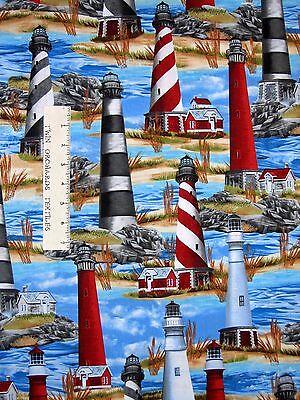 Beach Scene Lighthouse (Nautical Fabric - Lighthouse Beach Scene C1548  - Timeless Treasures YARD )