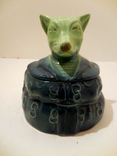 Antique Ceramic Covered Trinket Box ~ Fox in a Suit or Robe