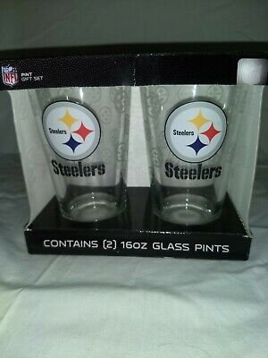 Boelter Brands NFL Pittsburgh Steelers 2 - 16 oz Pint Glass Gift Set DW (Good Eyeglasses Brands)