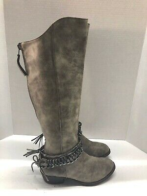 Jellypop Womens Peyton Size 6 M Tan Knee High Western Boots Lace Up Back