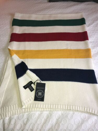 HUDSONS BAY STRIPED KNITTED BLANKET THROW  NEW NWT