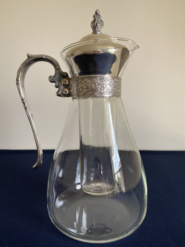 Vintage Silver Plated Glass Water Pitcher With Ornate Handle/Glass Ice Insert