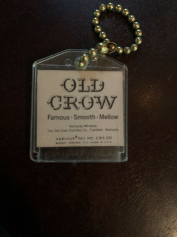 VINTAGE VARI VUE OLD CROW LENTICULAR GOOD LUCK KEY CHAIN