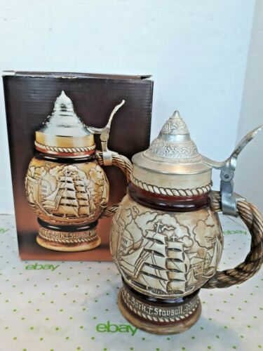 Vintage 1977 Avon Collectible Beer Stein Sailing Nautical Tall Ships #66794