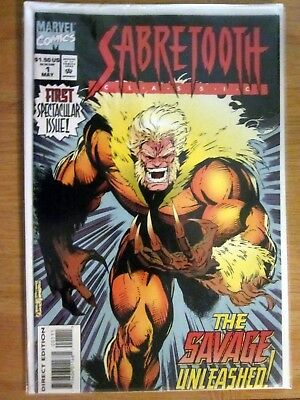 Sabre Tooth Comic 1st Spectacular issue ! 1994 The Savage Unleashed Marvel Comic