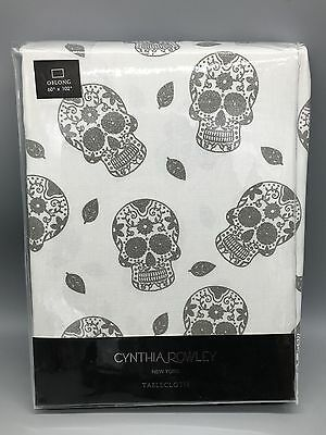 Cynthia Rowley Tablecloth Sugar Skull Halloween Silver Shimmer 60x102 Cloth NEW](Sugar Skull Halloween Clothing)