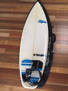 "Surfboard Paul Parkes 3P 5'7"" with cover"