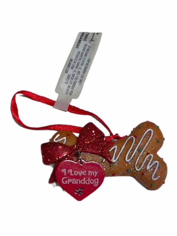 Hallmark I Love My Granddog Bone Ornament Dog Cookie Treat Gift Tag Bow