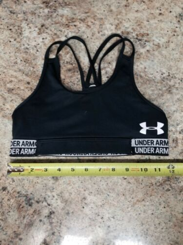 Child Youth Large Underarmour Under Armour cheer Sports Bra Top LOGO BAND Black