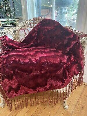 1800's Victorian Velvet Textile Fringed LG Wine Arts & Crafts Chevron Pattern