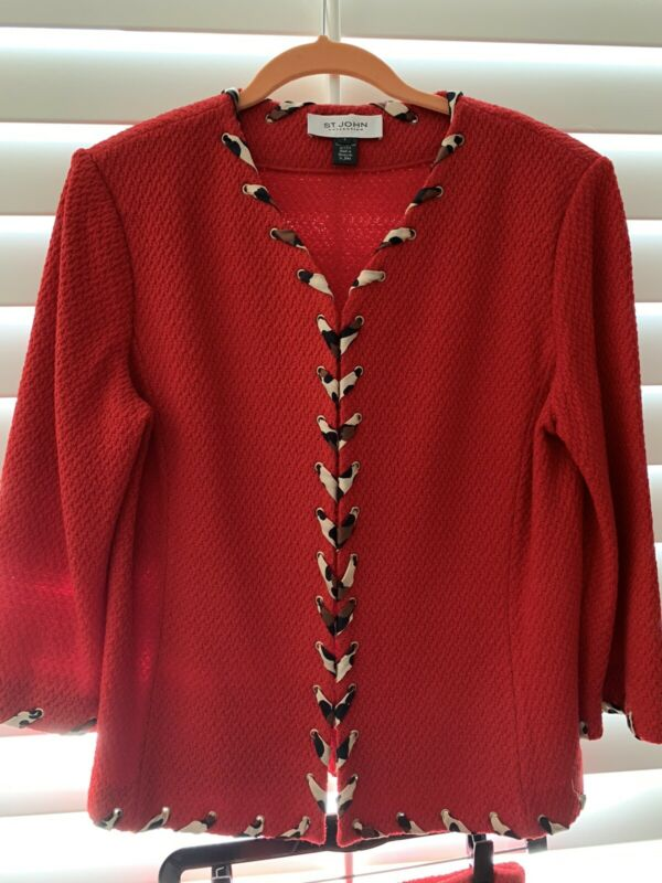 St John Collection Red Jacket Size 8