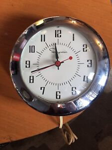 MCM Vintage 50's- 60's Chrome Wall clock