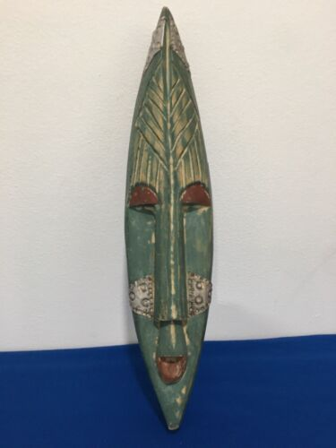 AFRICA Hand Carved Wooden With Metal Accents Tribal Green Face Wall Mask Decor
