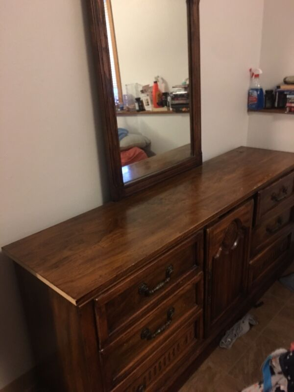 Dressed With A Mirror , Dark Wood , 9 Drawers