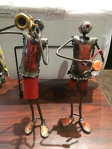African Figurines Trumpet and Drum player from nuts and bolts
