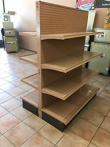 Peg board double sided shelves