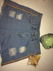 ripped jean shorts with stripes