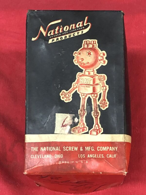 VINTAGE NATIONAL SCREW CO CLEVELAND OHIO MACHINE BOLTS BOX ONLY GREAT GRAPHICS!!