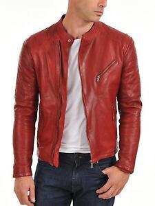 Red Leather Bomber Jacket Men - JacketIn