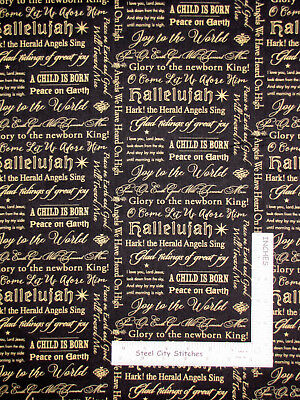 Christmas Religious Lyrics Songs Cotton Fabric Wilmington Angel Song By The Yard ()