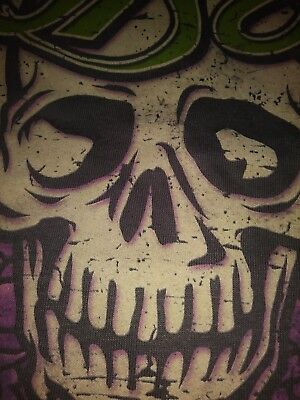 Bret Michaels Poison Skull Gray T Shirt  Distressed Live Nation Mens Xl Grey Mwt