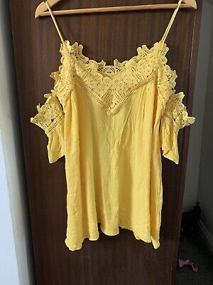 Kiss The Sky Cold Shoulder Cami Yellow Blouse, Size S 8-12, Lace Trim
