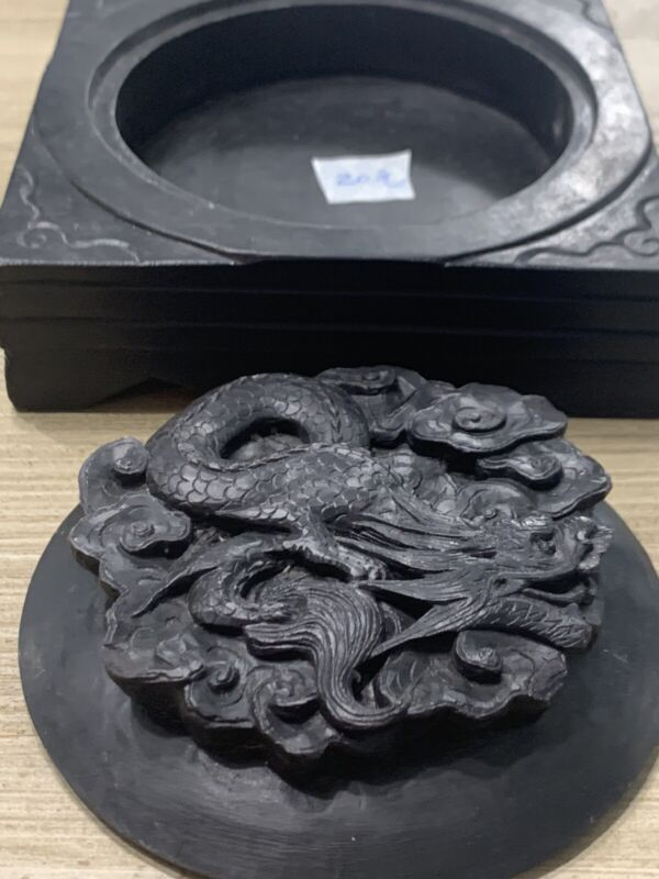 Antique Chinese Dragon Ink Stone With Intricate Carved Lid Cover