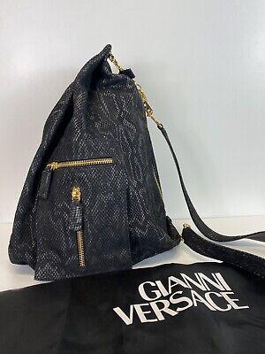 Rare Vtg Gianni Versace Black Snakeskin Medusa Greek Key Backpack