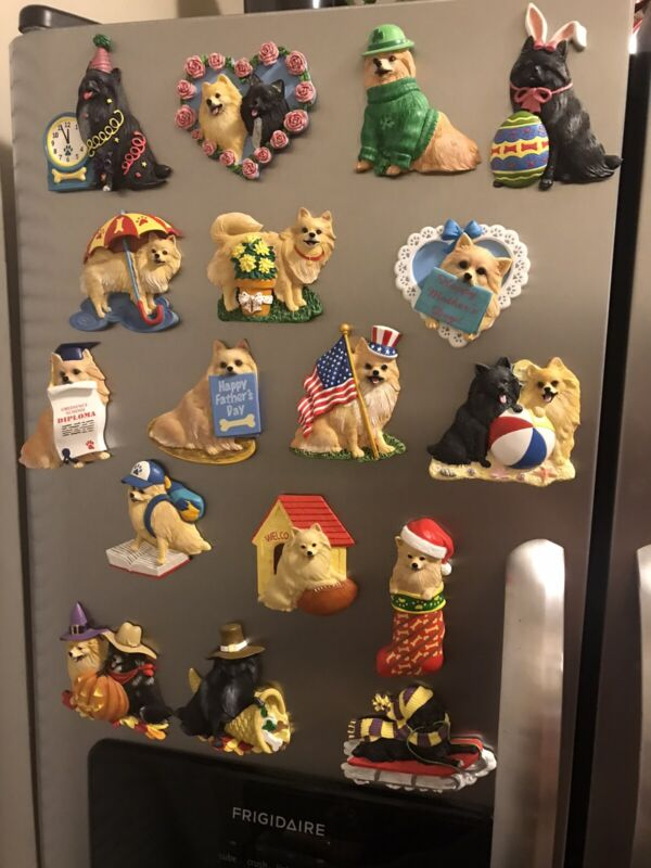 Willabee & Ward Pomeranian Dog Magnets Collection of 25 with Display Board