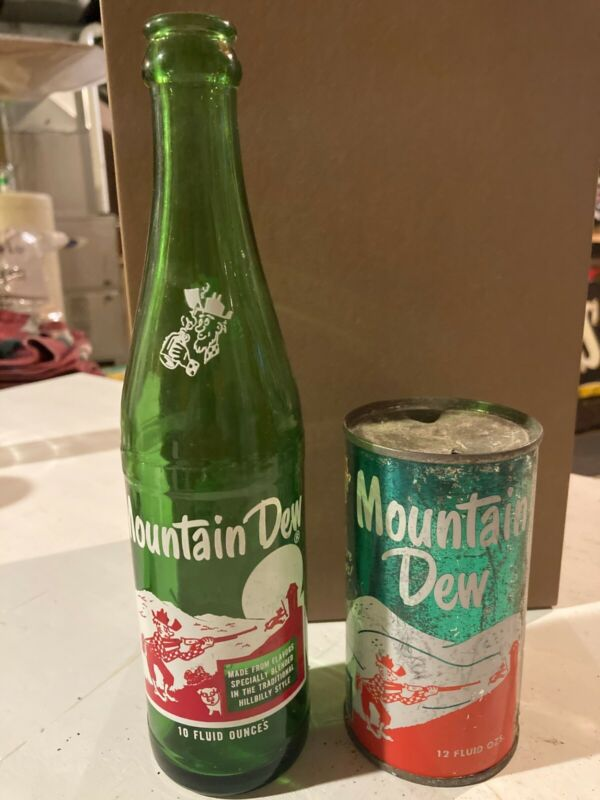 Hillbilly Mountain Dew Bottle and Can