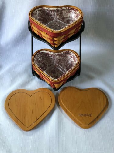 2001 LONGABERGER SWEETHEART Baskets wood lids liners trays on 2 tier Iron Stand